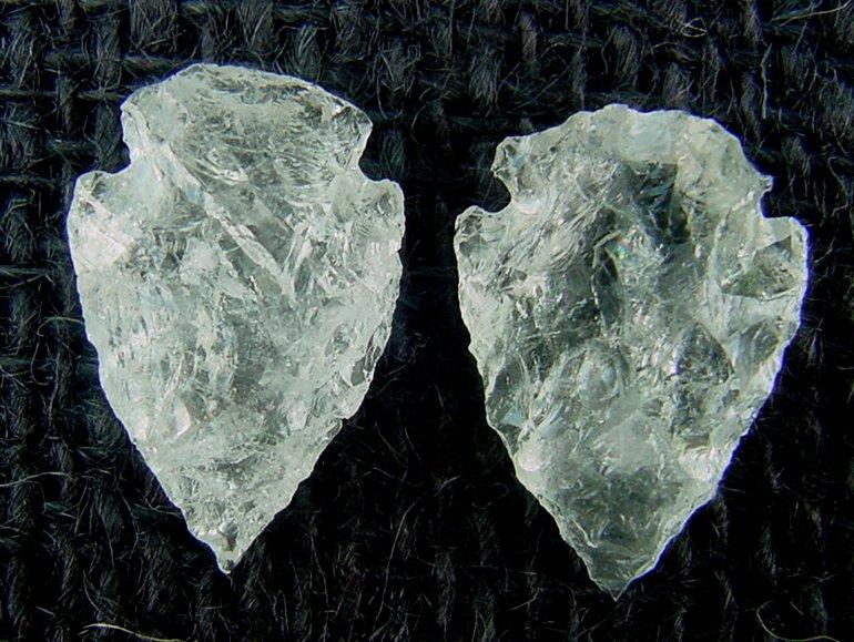 """1 crystal clear quartz from bulk pile arrowheads replica arrow head  1/""""-1 1//2/"""""""