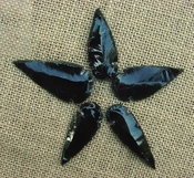 5 obsidian arrowheads reproduction black arrowheads O102