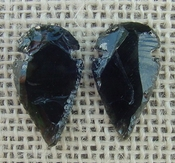 1 pair arrowheads for earrings black obsidian replica obe84