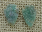 1 pair arrowheads for earrings stone green  replica point ae55