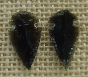 1 pair arrowheads for earrings black obsidian replica obe128