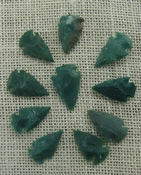 10 arrowheads dark green stone points replica arrow heads sp38