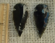 Black obsidian arrowheads pair for making custom jewelry ae186
