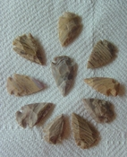 10 arrowheads reproduction tans browns arrowheads points sa839