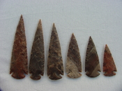Reproduction spearheads collection 6 piece stone arrowheads x344
