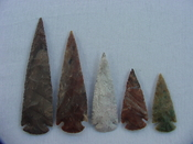 5 piece  Reproduction Spearheads collection jasper x348