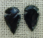 1 pair arrowheads for earrings black obsidian replica obe65