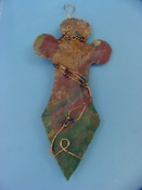 "4 1/2"" stone cross spearhead wall hanging wire wrapped wc24"