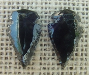 1 pair arrowheads for earrings black obsidian replica obe36