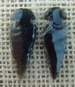 1 pair arrowheads for earrings black obsidian replica obe51