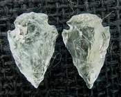1 pair arrowheads for earrings clear crystal quartz replica cq22