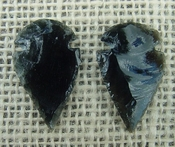 1 pair arrowheads for earrings black obsidian replica obe37