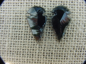 1 pair arrowheads for earrings black obsidian replica obe27