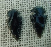 1 pair arrowheads for earrings black obsidian replica sa408