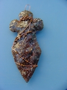 "4"" stone cross spearhead wall hanging wire wrapped wc17"