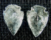 1 pair arrowheads for earrings clear crystal quartz replica cq18