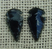 1 pair arrowheads for earrings black obsidian replica obe67