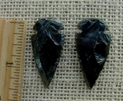 Pair of obsidian arrowheads for making custom jewelry ae180