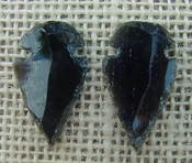 1 pair arrowheads for earrings black obsidian replica obe52
