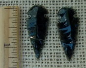 Pair of obsidian arrowheads for making custom jewelry ae138