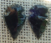 1 pair arrowheads for earrings black obsidian replica obe60