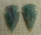 1 pair arrowheads for earrings stone green replica point ae67