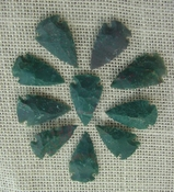10 arrowheads dark green stone points replica arrow heads sp27