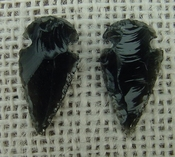 1 pair arrowheads for earrings black obsidian replica sa439