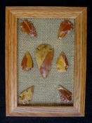 Framed arrowhead spearhead collection replica earthy tones fa21