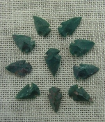 10 arrowheads dark green stone points replica arrow heads sp10