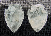 1 pair arrowheads for earrings clear crystal quartz replica cq39