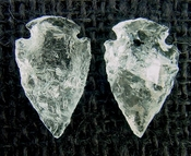 1 pair arrowheads for earrings clear crystal quartz replica cq25