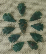 10 arrowheads dark green stone points replica arrow heads sp55
