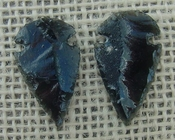 1 pair arrowheads for earrings black obsidian replica obe31