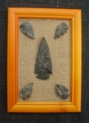 Framed arrowheads spearhead collection replica earthy tones pf10