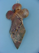 "4 1/4"" stone cross spearhead wall hanging wire wrapped wc20"