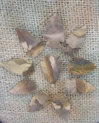 10 arrowheads reproduction tans browns arrowheads points ks319
