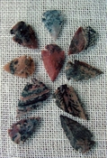 10 arrowheads with spots spotted reproduction bird points ks501