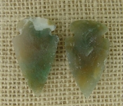 1 pair arrowheads for earrings stone green replica point ae92