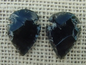 1 pair arrowheads for earrings black obsidian replica obe62