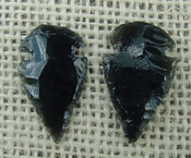 1 pair arrowheads for earrings black obsidian replica obe68