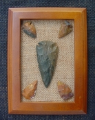 Framed arrowhead spearhead replica collection earth tones pf18