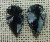 1 pair arrowheads for earrings black obsidian replica obe35