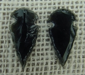 1 pair arrowheads for earrings black obsidian replica sa402