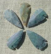 "2"" inch arrowheads 5 pack green reproduction arrow points sa745"
