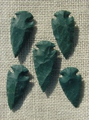 "2"" inch arrowheads bulk 5 pack green replica arrow points sa583"