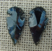 1 pair arrowheads for earrings black obsidian replica obe5