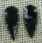 1 pair arrowheads for earrings black obsidian replica obe57
