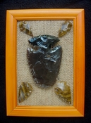 Framed arrowhead spearhead collection replica earthy tones fa18