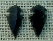 1 pair arrowheads for earrings black obsidian replica sa407